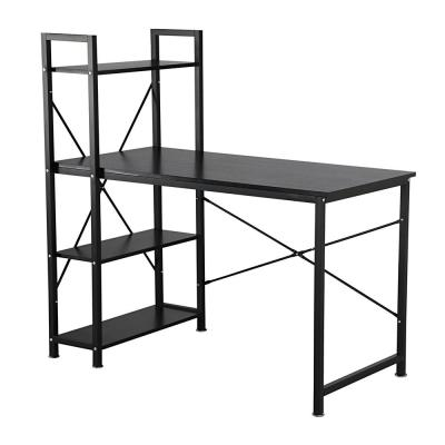 Modern Style Computer Desk with 4-Tier Attached Bookshelf