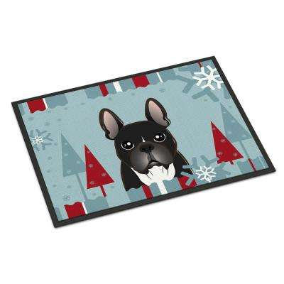 18 in. x 27 in. Indoor/Outdoor Winter Holiday French Bulldog Door Mat