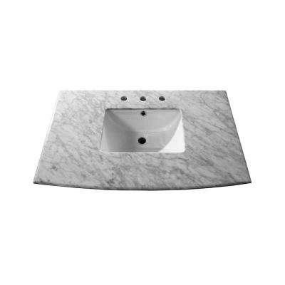 Maricopa 36 in. W x 22.6 in. D Marble Single Basin Vanity Top in White with White Basin