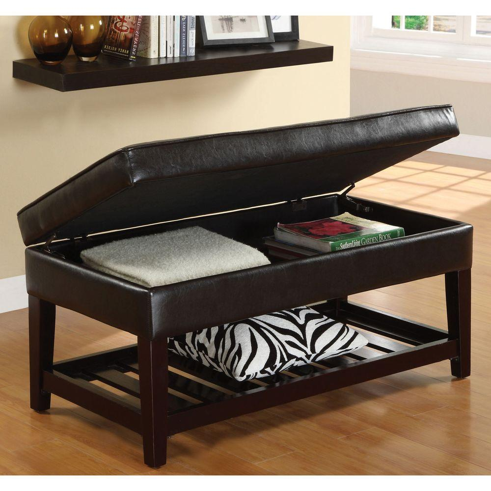 Venetian Worldwide Ramona Leatherette Storage Bench in Espresso