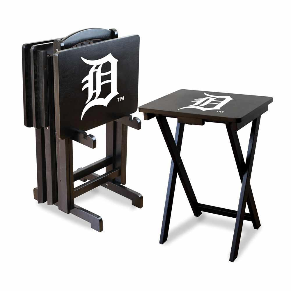 Detroit Tigers 4 Tv Tray And Stand Set