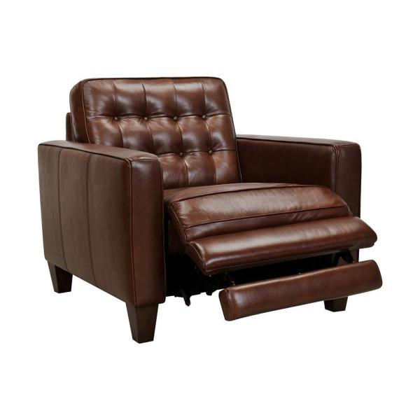 Wesley Chestnut Leather Power Reclining Tuxedo Arm Accent Chair