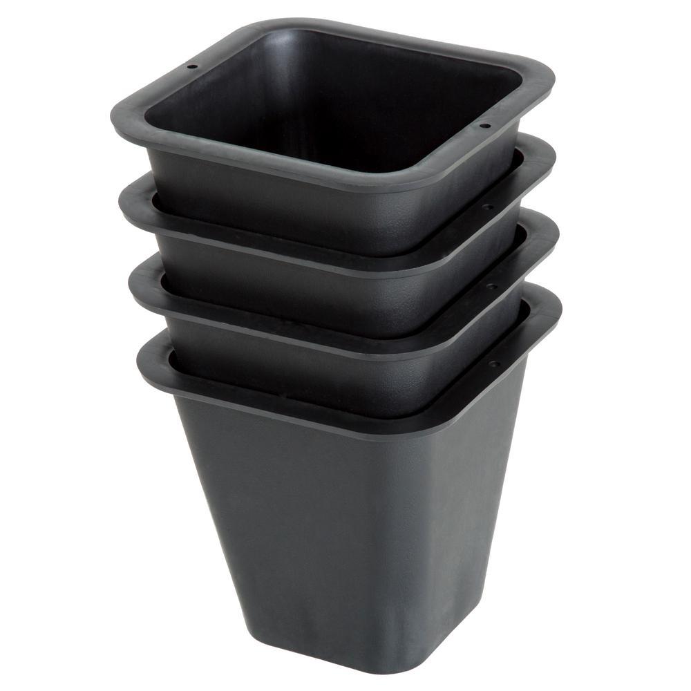 6 in. x 6 in. Black Plastic Flower Pots (4-Pack)