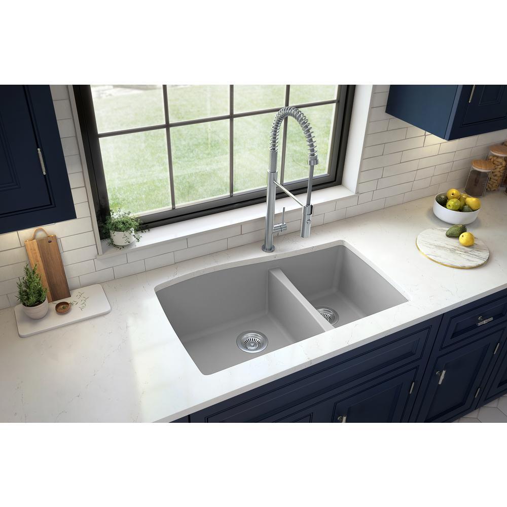 Karran Undermount Quartz Composite 33 in. 60/40 Double Bowl Kitchen Sink in Grey