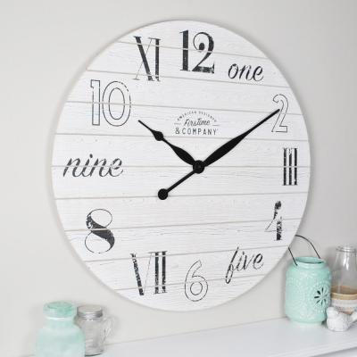 27 in. Shiplap Chic Aged White Wall Clock