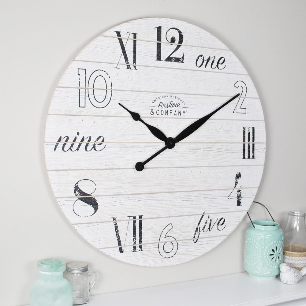 Shiplap Chic Aged White Wall Clock