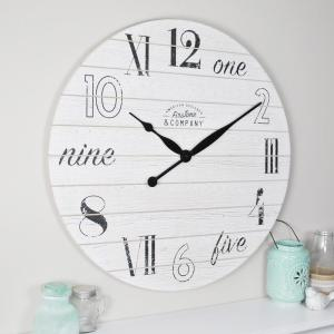 FirsTime Shiplap Chic Aged White Wall Clock by FirsTime