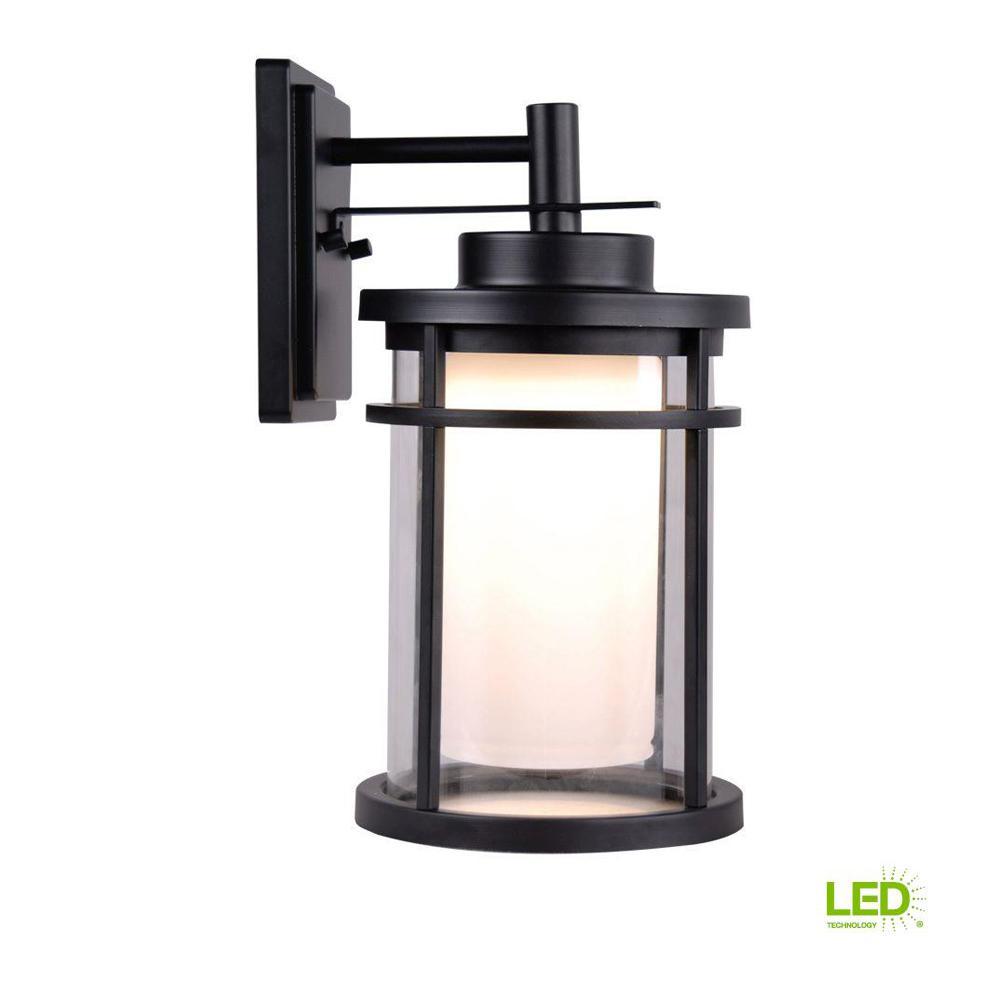 Black Outdoor LED Medium Wall Light