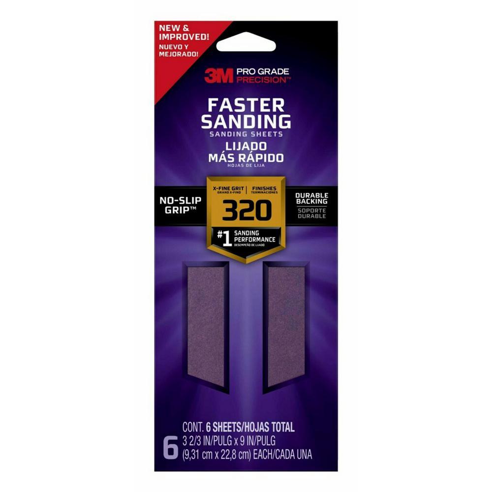 Pro Grade Precision Faster Sanding Sanding Sheets, 3 2/3 in x 9 in, 320 grit, X-Fine, 6/pk