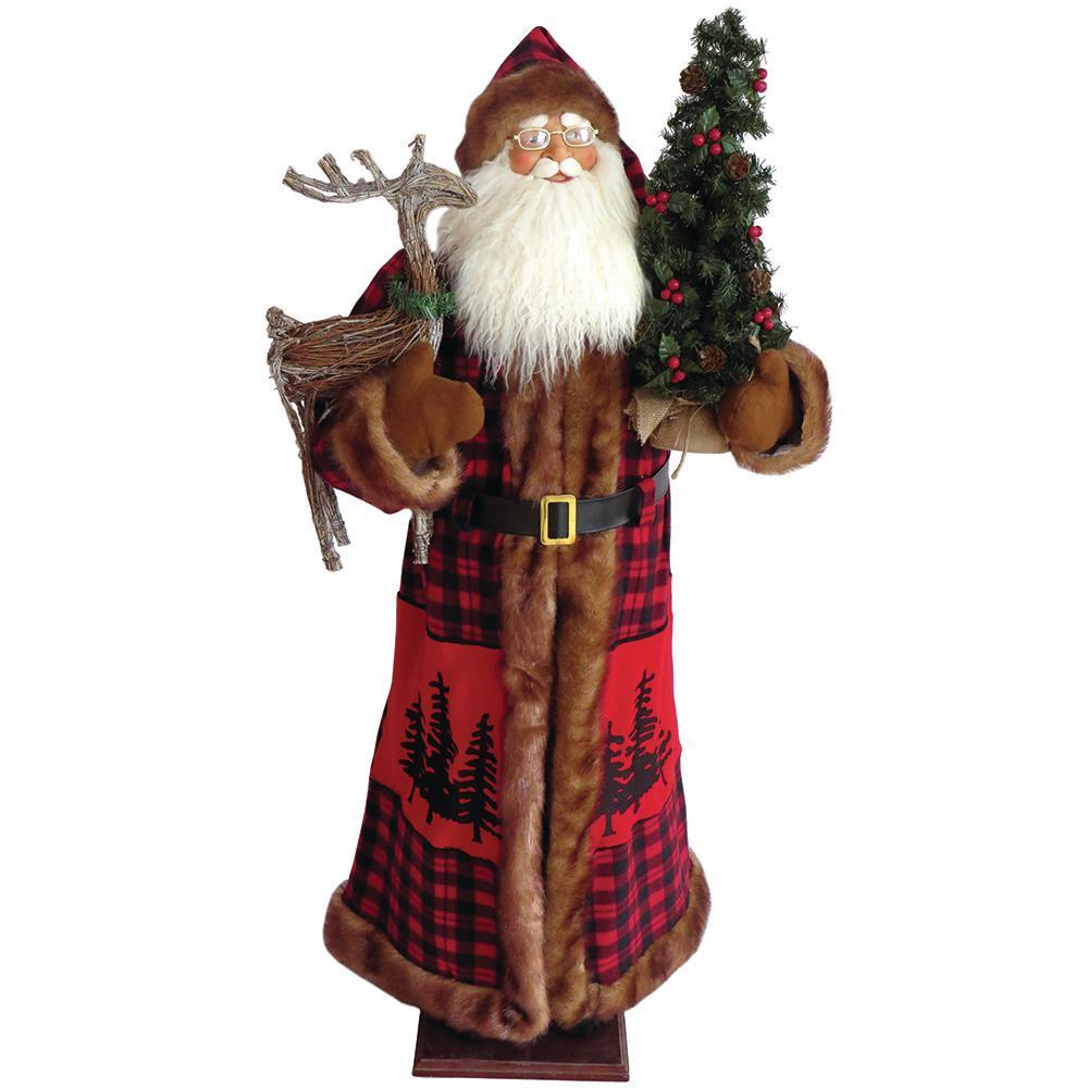 60 in Christmas Buffalo Plaid Santa with Lantern