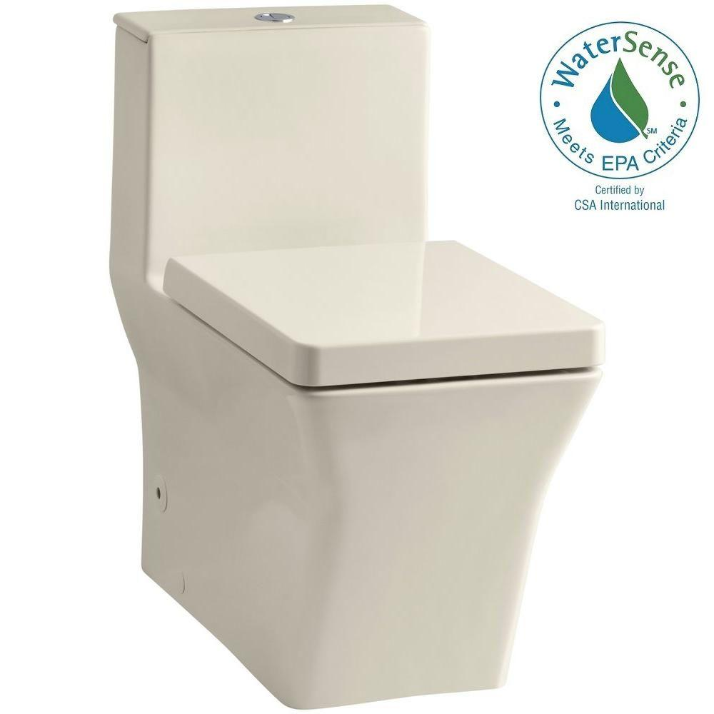 KOHLER Reve 1-Piece 0.8 or 1.6 GPF Dual Flush Elongated Toilet in Almond