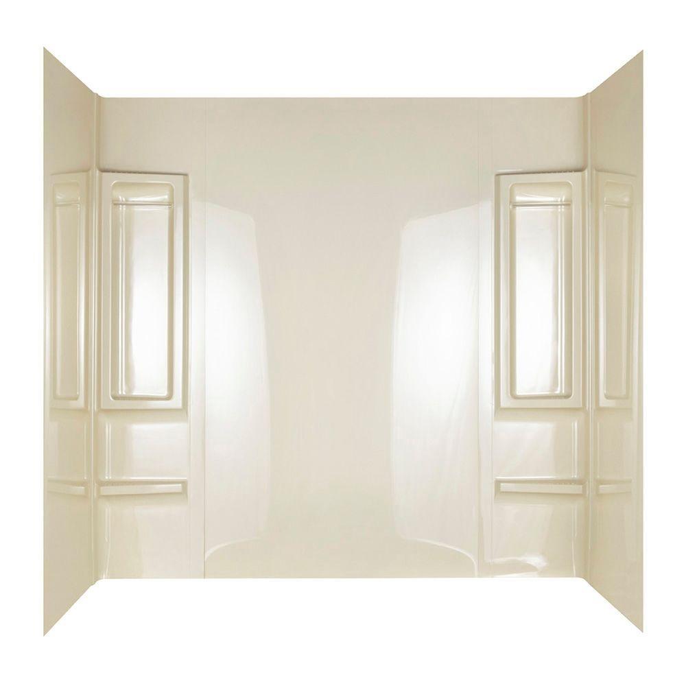 ASB 31 in. x 60 in. x 58 in. Five Piece Glue-Up Vantage Bathtub Shower Wall Set in High Gloss Bone
