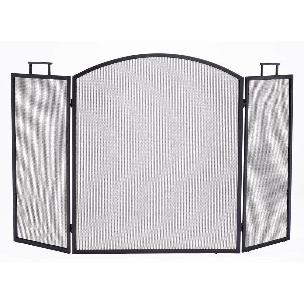 htm black iron uniflame p fold fireplace screen deluxe wrought
