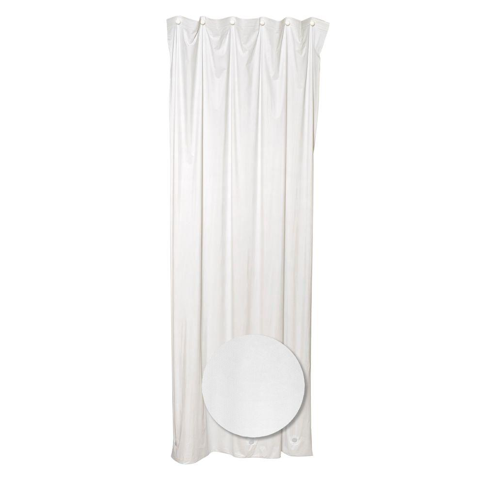 Zenna Home 70 in. W x 72 in. H Vinyl Shower Liner in White