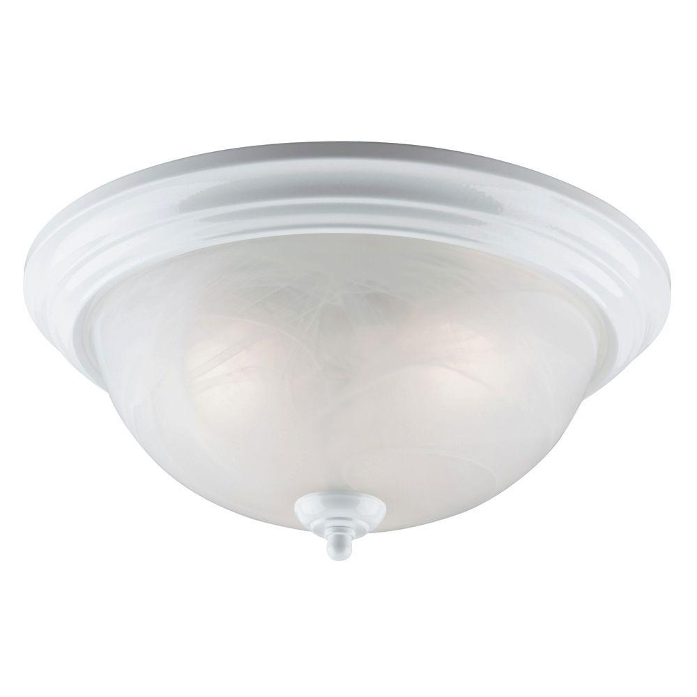 Westinghouse 3-Light White Interior Ceiling Flushmount with Frosted White Alabaster Glass