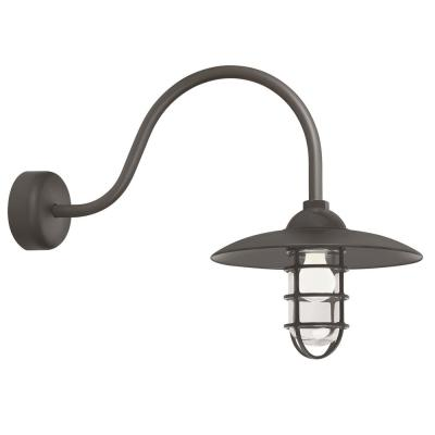 Retro Industrial 23 in. Arm 1-Light Textured Bronze Clear Glass Lens Outdoor Wall Mount Sconce