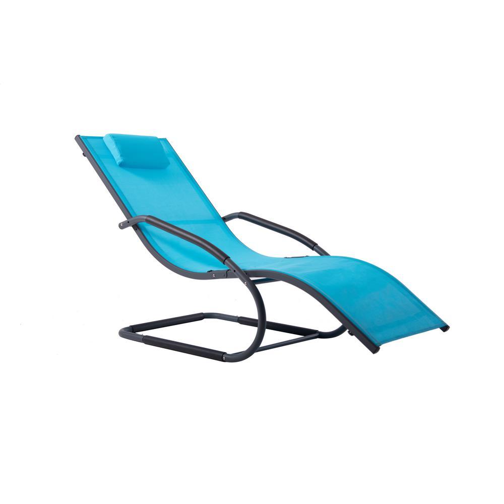 Wave Black Frame Aluminum Outdoor Lounge Chair on Ocean Blue sling