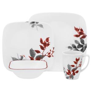 Boutique Kyoto Leaves 16-Piece Asian Inspired Kyoto Leaves Porcelain Dinnerware Set (Service for 4)