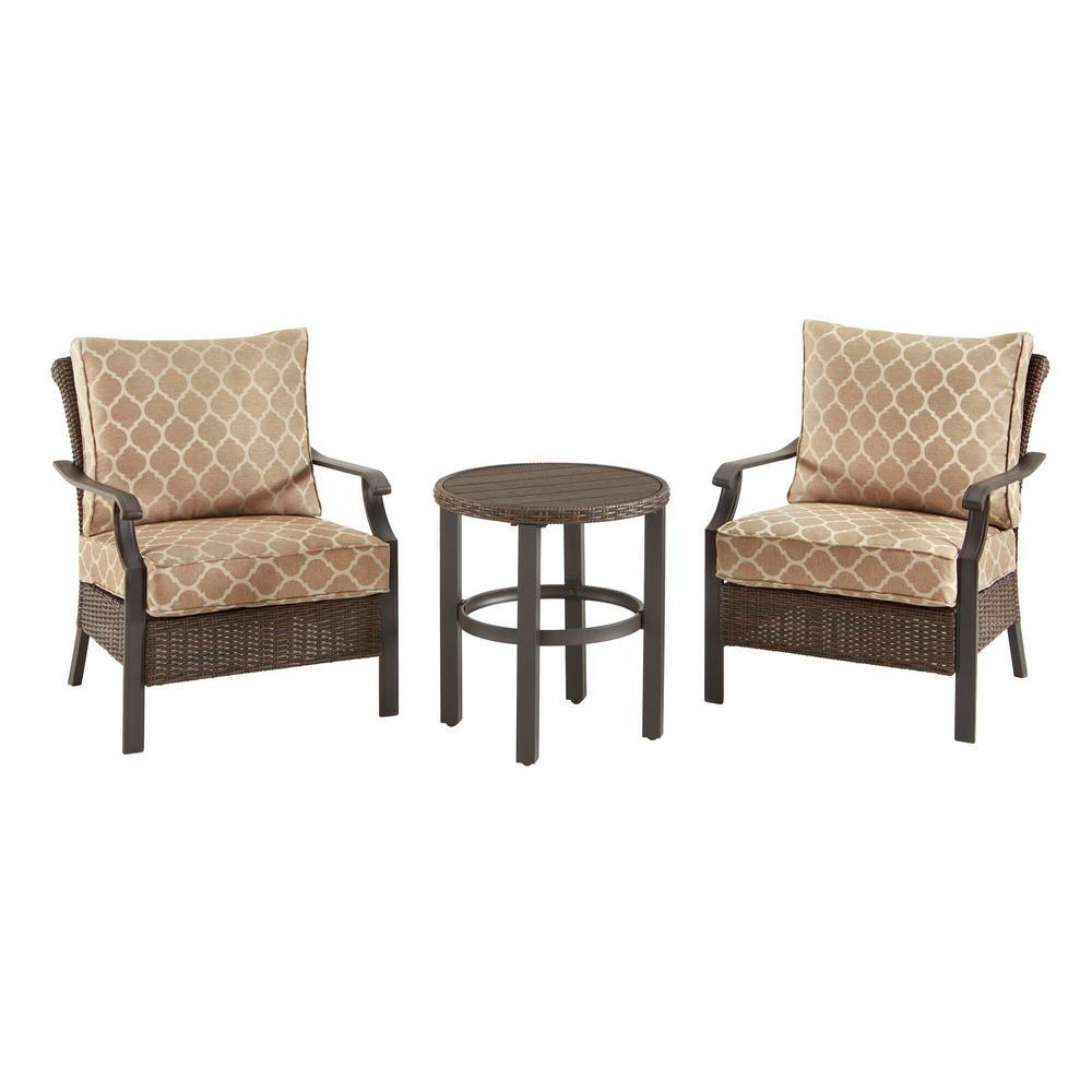 Harper Creek 3-Piece Brown Steel Outdoor Patio Chair Set with CushionGuard Toffee Trellis Tan Cushions