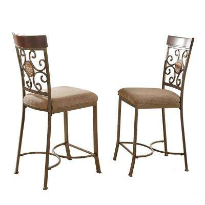 Thompson 24 in. Brown Counter Chairs (Set of 2)