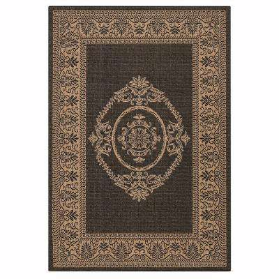 Antique Medallion Black and Cocoa 5 ft. x 8 ft. Area Rug