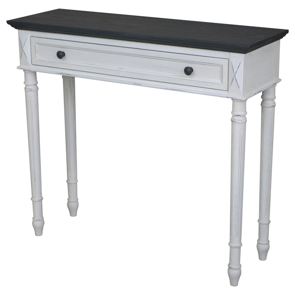 Ordinaire Ashbury Bruges Black Oak Veneer And Antique White One Drawer Console Table