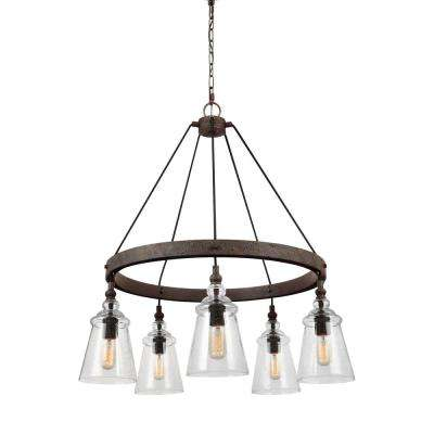 Loras 5-Light Dark Weathered Iron Chandelier