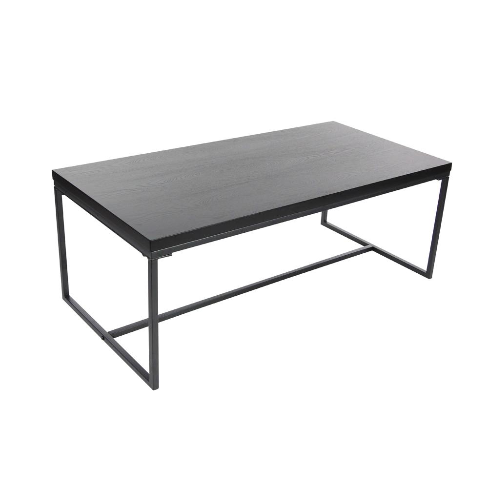 Modern Metal And Wood Coffee Table In Black 65630 The Home Depot