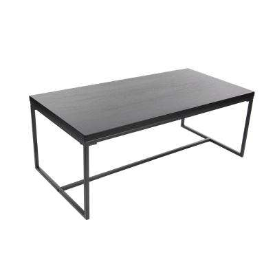 47 in. x 18 in. Modern Metal and Wood Coffee Table in Black