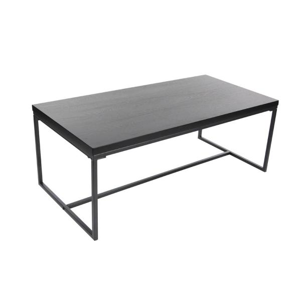47 In X 18 Modern Metal And Wood Coffee Table Black
