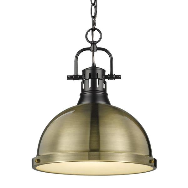 Duncan 1-Light Pendant with Chain in Black with an Aged Brass Shade