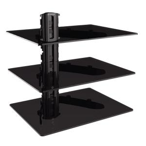 gforce triple dvd shelf wall mount with tempered glass and aluminum gf 686 1227 the home depot. Black Bedroom Furniture Sets. Home Design Ideas
