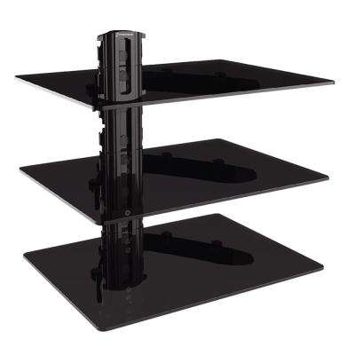 Triple DVD Shelf Wall Mount with Tempered Glass and Aluminum