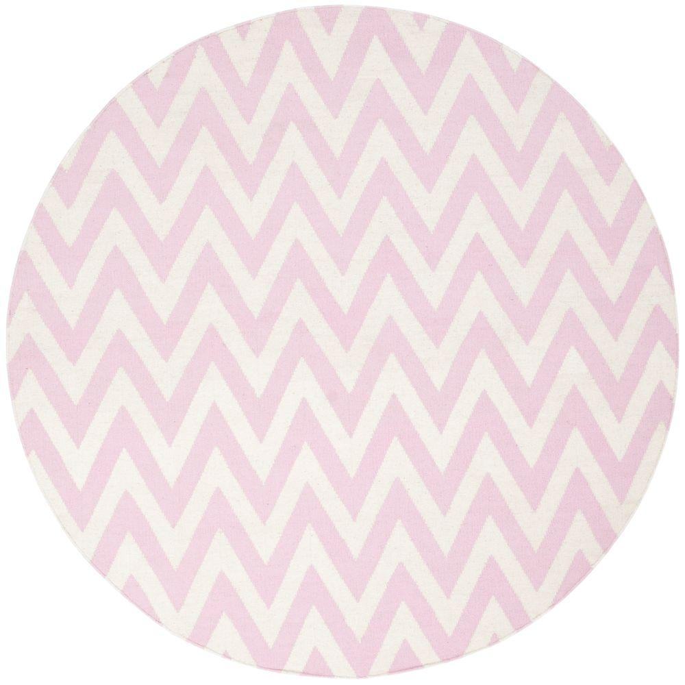 Dhurries Pink/Ivory 6 ft. x 6 ft. Round Area Rug