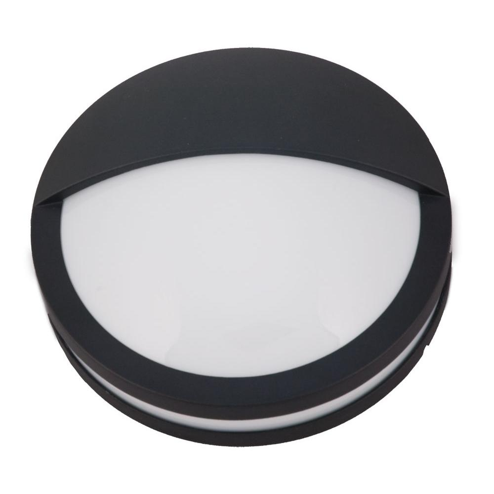 2-Light Black Fluorescent Wall Sconce with Frosted Polycarbonate Lens