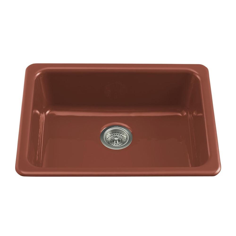 KOHLER Iron/Tones Self-Rimming/Undercounter Cast Iron 24-1/4x18-3/4x8.25 0 Hole Single Bowl Kitchen Sink