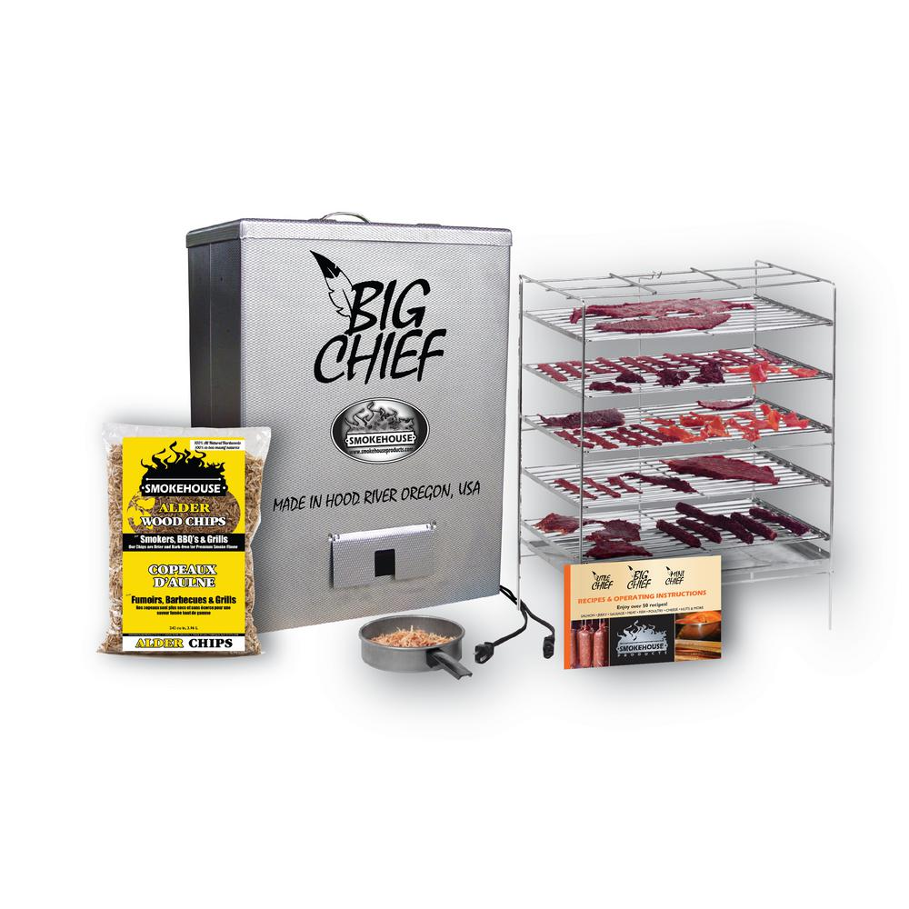 Smokehouse Products Smokehouse Big Chief Top Load Smoker The Big Chief Smokehouse Top Load Smokers are electric and plug into any standard 3-prong 110-120 AC outlet. The Big Chief heating element will heat the smoking chamber to approximately 165F. Perfect for smoking salmon, trout, other fish, jerky, sausage, fruits, nuts, cheese, turkey, bacon, hams and steaks. Made of embossed aluminum for durability.