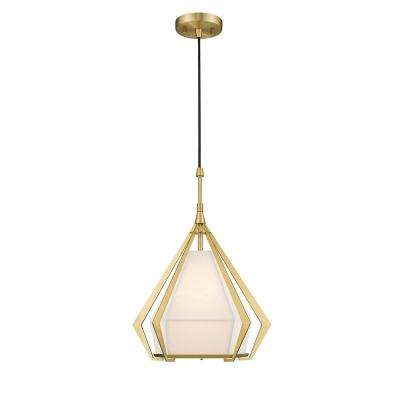 Shaan 1-Light 2 Tone Brass Finish 14 in. LED Pendant