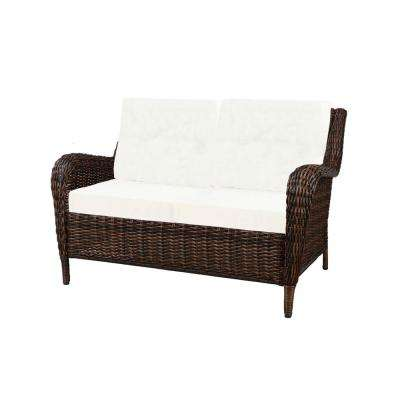 Cambridge Brown Wicker Outdoor Loveseat with Cushions Included, Choose Your Own Color