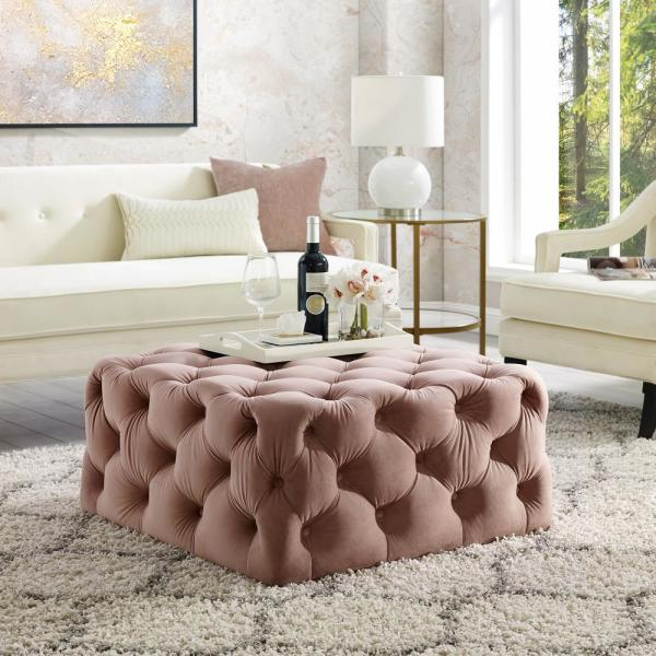 Footstool with Wooden Legs Blush