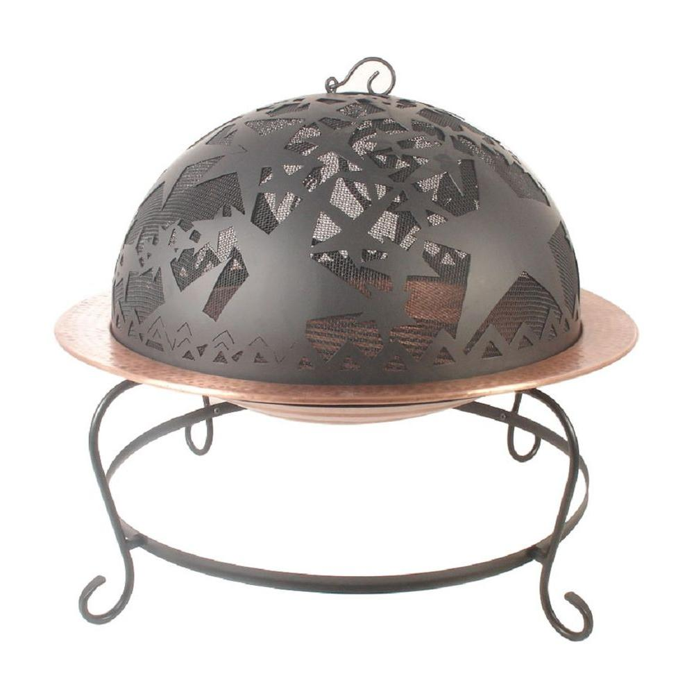 null 25 in. Round Star Cutout Hammered Fire Pit