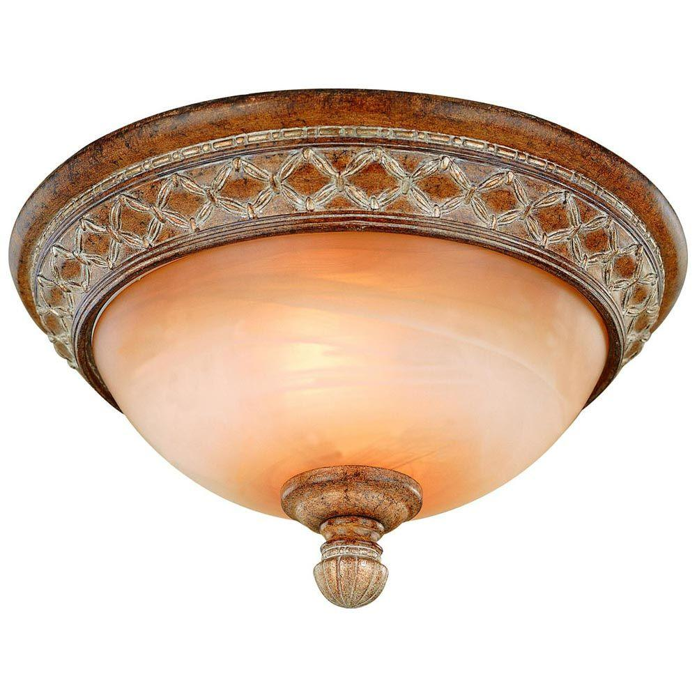 Hampton Bay Berlini 13 In 2 Light Tuscan Patina Flush Mount With Marble Gl Shade