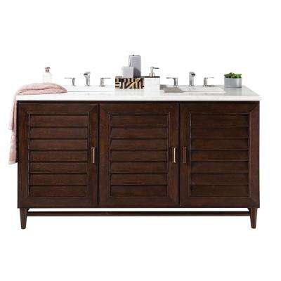 Portland 60 in. W Double Vanity in Burnished Mahogany with Soild Surface Vanity Top in Arctic Fall with White Basin