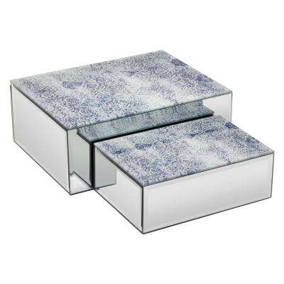10 in. x 7.75 in. x 4 in. Blue and Silver Glass Mirrored Box (Set of 2)