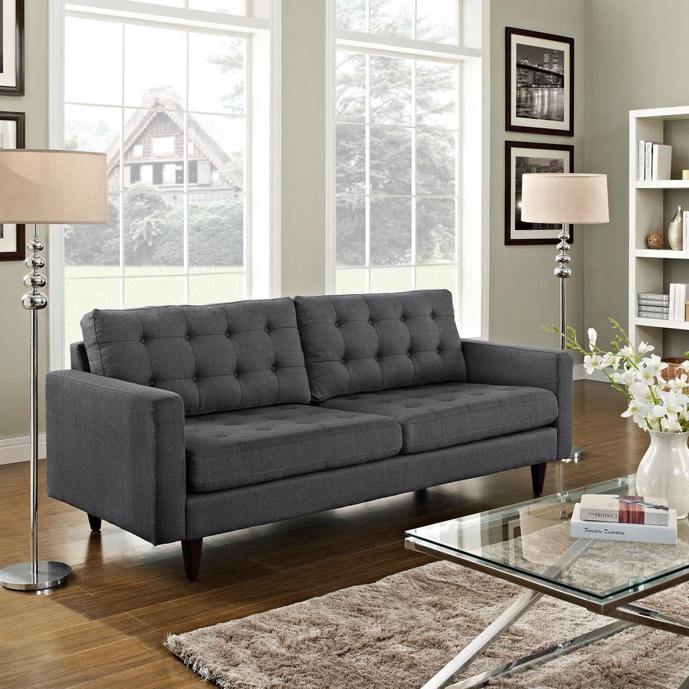 Empress Gray Upholstered Fabric Sofa
