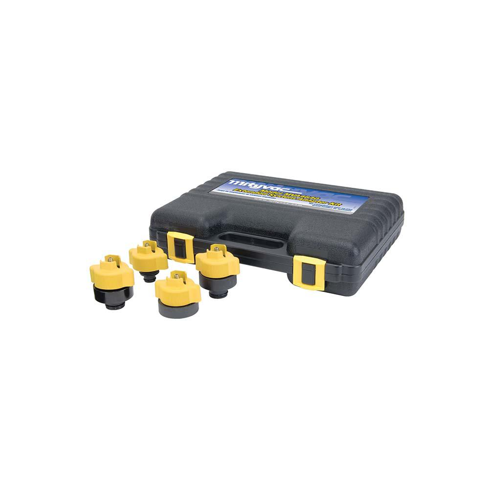 Cooling System Extended Adapter Kit The Mityvac Cooling System Adapter Kit is an accessory kit for the Mityvac Cooling System Pressure Test Kits. It includes 4 adapters to fit all automobiles. It features an optimized design with firm grip.