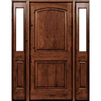 64 in. x 96 in. Rustic Knotty Alder Arch Top Red Chestnut Stained Wood Right Hand Single Prehung Front Door