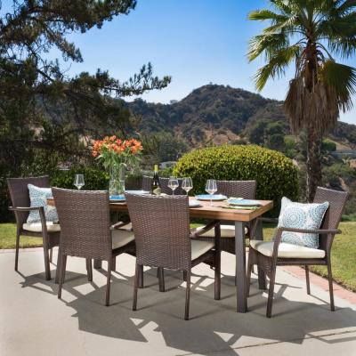 Cordella Natural Stained with Rustic Metal and Brown 7-Piece Wood and Wicker Outdoor Dining Set