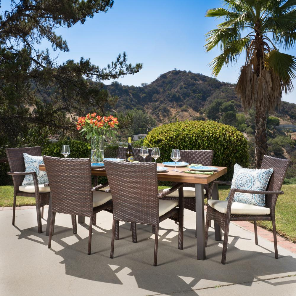 rustic outdoor dining table. Noble House Cordella Natural Stained With Rustic Metal And Brown 7-Piece Wood Wicker Outdoor Dining Table