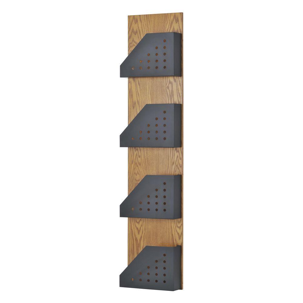 Buddy Products Princeton Wood Back/Steel 4-Pocket Display Rack in Medium Oak